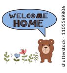 vector card with cartoon animal.... | Shutterstock .eps vector #1105569806