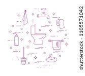toilet bowl  toilet paper  soap ... | Shutterstock .eps vector #1105571042