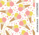 seamless pattern of ice cream.... | Shutterstock .eps vector #1105580585