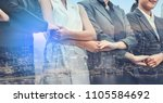 double exposure business people ... | Shutterstock . vector #1105584692