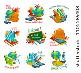 back to school autumn education ... | Shutterstock .eps vector #1105586408