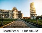leaning tower of pisa in pisa ... | Shutterstock . vector #1105588055