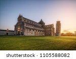 leaning tower of pisa in pisa ... | Shutterstock . vector #1105588082