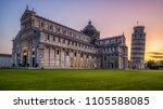 leaning tower of pisa in pisa ... | Shutterstock . vector #1105588085