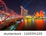 marina bay   singapore   august ... | Shutterstock . vector #1105591235