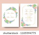 wedding floral invitation with... | Shutterstock .eps vector #1105594775