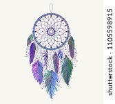 Hand drawn dreamcatcher with colored feathers. Ethnic art with native American Indian boho design, mystery symbol, tribal gypsy poster or card. Vector illustration of dream catcher.