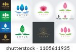 set of isolated abstract lotus... | Shutterstock .eps vector #1105611935