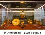 Small photo of Sofia, Bulgaria - 1 May 2018: Panagyurishte Treasure consists of a phiale, an amphora, three oinochoai and four rhytons with total weight of 6.164 kg of 24-karat gold.