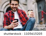 excited millennial male getting ... | Shutterstock . vector #1105615205