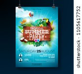 vector summer beach party flyer ... | Shutterstock .eps vector #1105617752