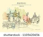 gateway of india and taj mahal... | Shutterstock .eps vector #1105620656