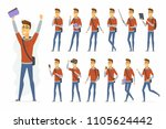modern student   vector cartoon ... | Shutterstock .eps vector #1105624442