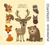 forest animals vector set. cute ... | Shutterstock .eps vector #1105624922