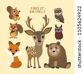 forest animals vector set. cute ... | Shutterstock .eps vector #1105624922