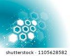 abstract hexagonal molecular...   Shutterstock .eps vector #1105628582