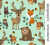 Stock vector wildlife character seamless pattern forest animals cartoon cute deer fox squirrel bear and owl 1105638338