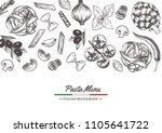 italian pasta frame . hand... | Shutterstock .eps vector #1105641722