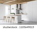 white kitchen interior with... | Shutterstock . vector #1105649015
