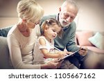 grandfather and grandmother... | Shutterstock . vector #1105667162