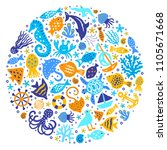world of the sea paper cutout... | Shutterstock .eps vector #1105671668