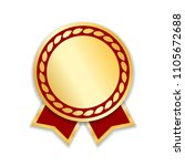 award ribbon isolated. gold red ... | Shutterstock .eps vector #1105672688