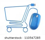 online shopping  blue mouse in... | Shutterstock . vector #110567285