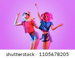 high fashion dj girl. two young ... | Shutterstock . vector #1105678205
