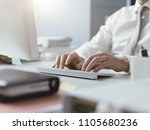 businessman working with his... | Shutterstock . vector #1105680236