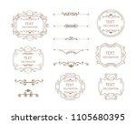 vintage vector set. floral... | Shutterstock .eps vector #1105680395
