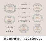 vintage vector set. floral... | Shutterstock .eps vector #1105680398
