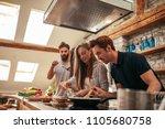 shot of a group of friends... | Shutterstock . vector #1105680758