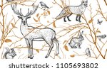 Stock vector seamless pattern with tree branches forest animals and birds deer fox hare squirrel vector 1105693802