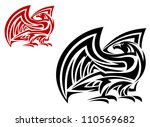 tribal eagle mascot in two... | Shutterstock .eps vector #110569682