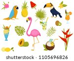 flat vector set of tropical...   Shutterstock .eps vector #1105696826