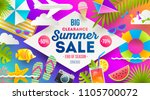 summer sale promotion banner.... | Shutterstock .eps vector #1105700072