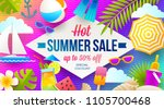 summer sale promotion banner.... | Shutterstock .eps vector #1105700468