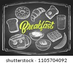 hand drawn breakfast food with... | Shutterstock .eps vector #1105704092