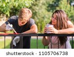 young handsome man and pretty... | Shutterstock . vector #1105706738