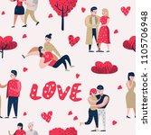 couple in love cartoon... | Shutterstock .eps vector #1105706948