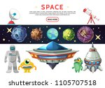 cartoon space composition with... | Shutterstock .eps vector #1105707518