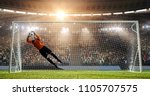 goalkeeper is trying to save... | Shutterstock . vector #1105707575