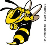 illustration of a angry bee.  | Shutterstock . vector #1105708898