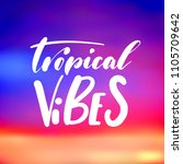 tropical vibes   handwritten... | Shutterstock .eps vector #1105709642
