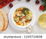 minestrone soup. vegetable soup ... | Shutterstock . vector #1105714838