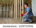 interior of attic room with... | Shutterstock . vector #1105715906