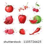 assortment of red foods ... | Shutterstock . vector #1105726625