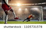 soccer player is trying to... | Shutterstock . vector #1105731578