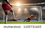 soccer player is trying to... | Shutterstock . vector #1105731605