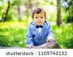 smart looking 12 months baby... | Shutterstock . vector #1105743152